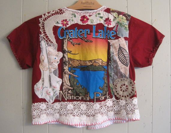 MyBonny Altered T shirt  CRATER LAKE National Park combo of many fabrics that I assembled & collaged; lots of elements  birds crochet lace Oregon map  antique yoyos buttons embroidery trim Hawaiian gingham bark cloth bear moon