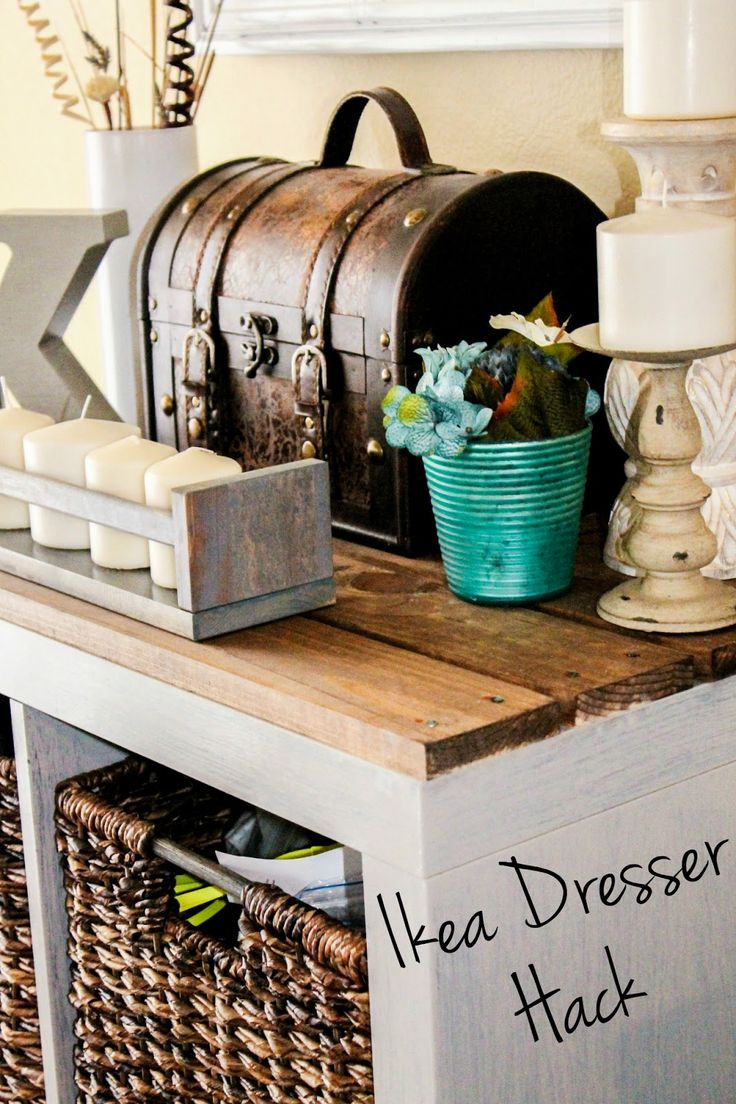 Kallax Ikea Shelf, gray and wood rustic makeover.  Ikea shelf/ dresser Hack