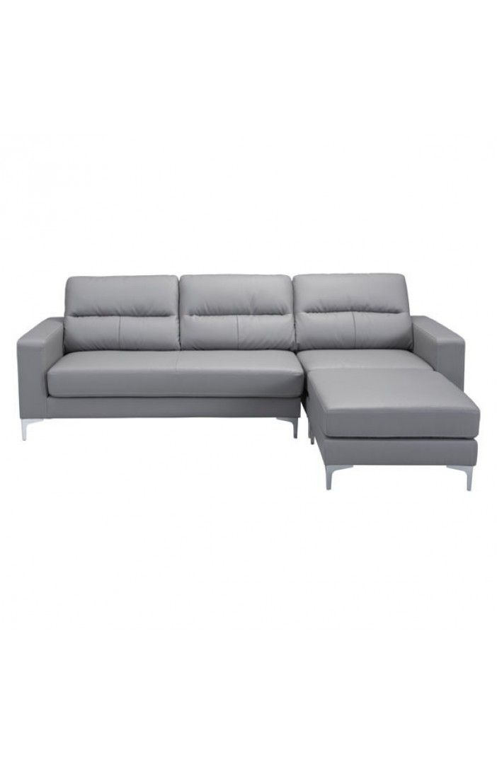 Versa Modern Stainless Steel Feet Gray Leatherette Fabric Sectional Sofa