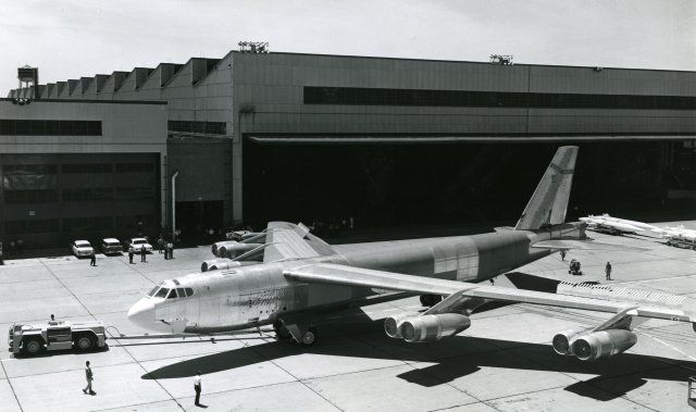 The last of 744 Boeing B-52 Stratofortress bombers, B-52H-175-BW, 61-0040, is rolled out at the Boeing plant at Wichita, Kansas. (Boeing)