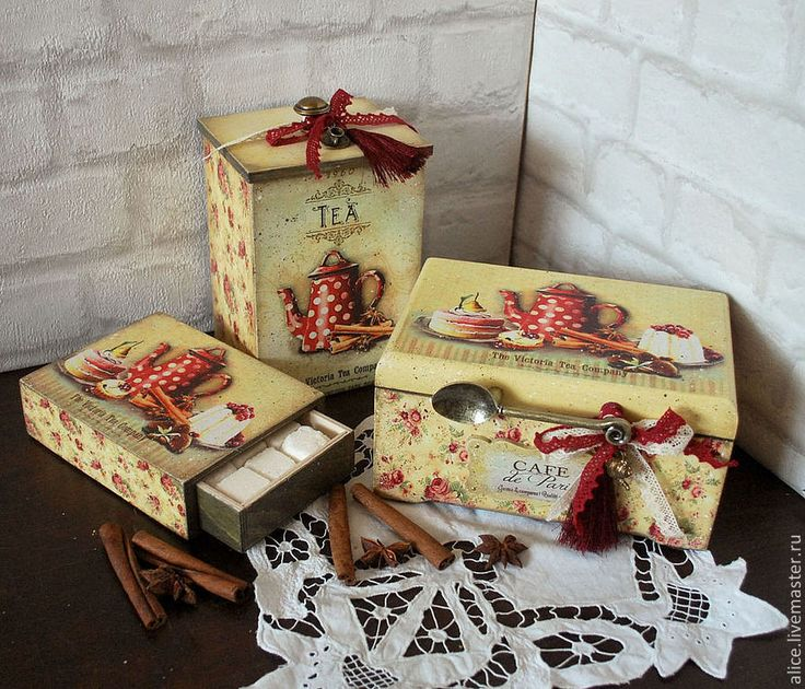 """Купить """"Французская кондитерская"""" набор коробов - бежевый, сливочный цвет, сладости, короб для печенья"""