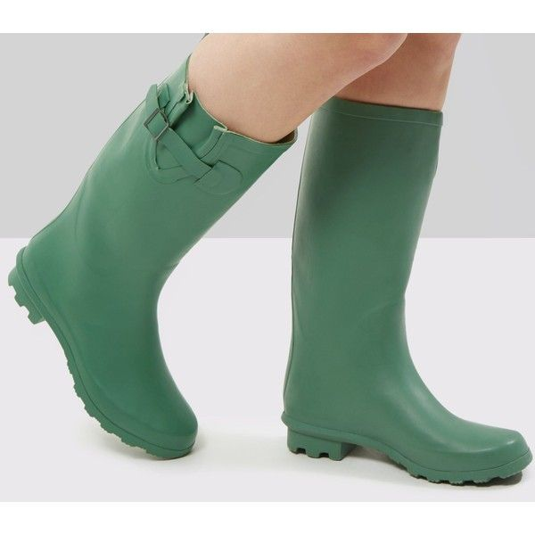Green Welly Boots ($26) ❤ liked on Polyvore featuring shoes, boots, khaki, rain boots, green rain boots, rubber shoes, green boots and wellington boots