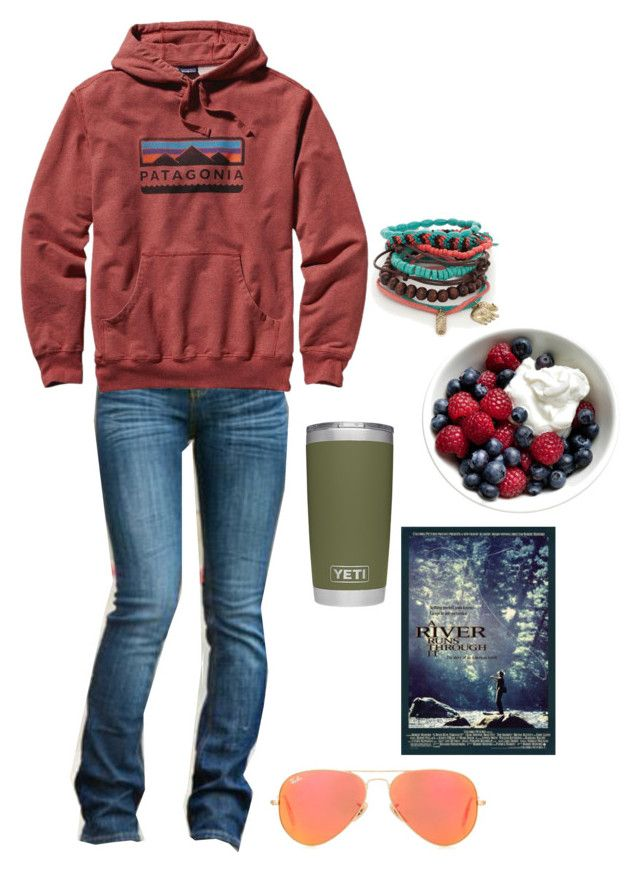 """A River Runs Through It is amazing"" by future-rn-harley ❤ liked on Polyvore featuring Patagonia, True Craft and Ray-Ban"