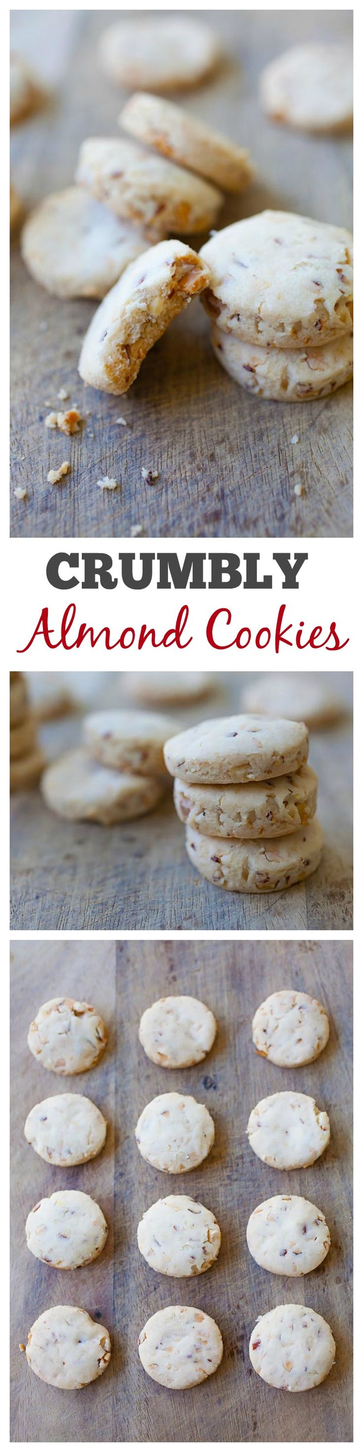 Super crumbly almond cookies with chopped almonds in the cookies. They're so good you won't stop eating | rasamalaysia.com