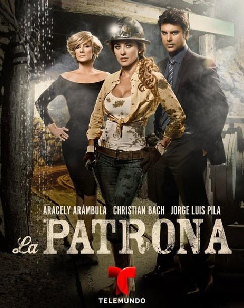 """""""La Patrona"""" protagonizada por """"Aracely Arambula"""" y Jorge Luis Pila y la villana Christian Bach.  La telenovela estrenó por Telemundo el 8 de enero a las 9pm."""