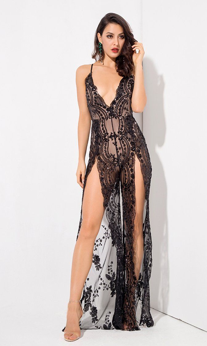 bd2f1b604 Take A Step Back Black Sequin Floral Pattern Sheer Mesh Sleeveless  Spaghetti Strap Plunge V Neck Backless Double Slit Wide Leg Loose Jumpsuit