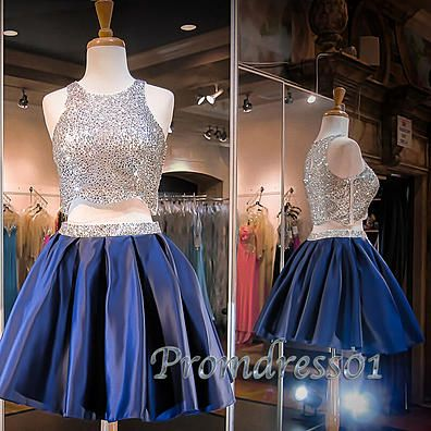 Cute blue satin two pieces prom dress, sparkly short prom dress for teens #coniefox #2016prom