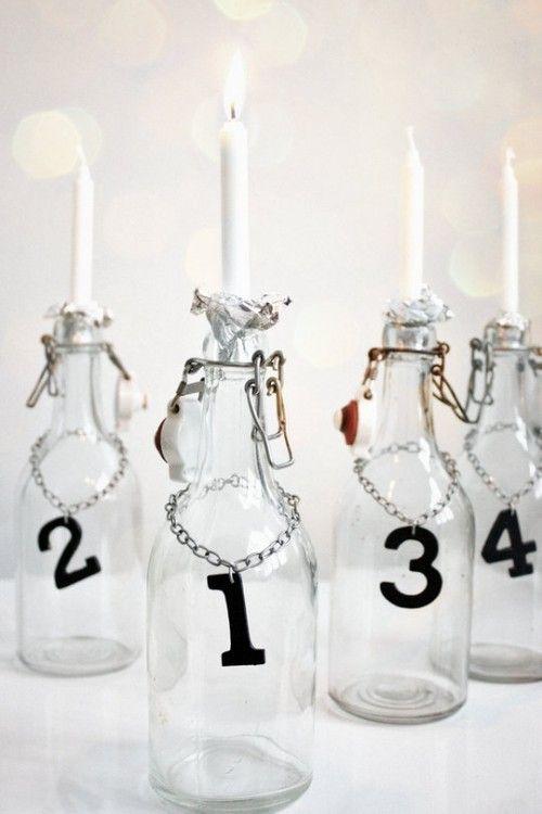 4 Flaschen für einen Adventskalender