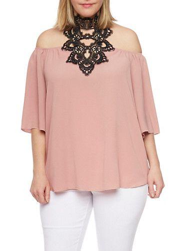 Plus Size Off the Shoulder Top with Crochet Halter Neck,MAUVE