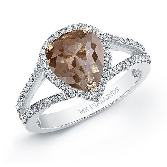 Pear shaped rose cut brown diamond with split shank halo band