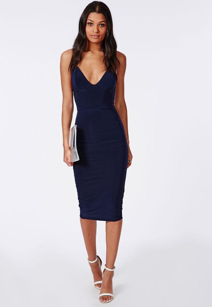 Slinky Midi Dress Navy - Dresses - Midi Dresses - Missguided