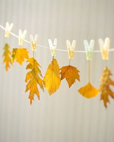 When dipped in wax, colorful leaves can be preserved through this season and beyond.: Crafts Ideas, Fall Leaves, Fall Decor, Autumn Leaves, Color, Martha Stewart, Leaf Crafts, Leaf Garlands, Autumn Crafts