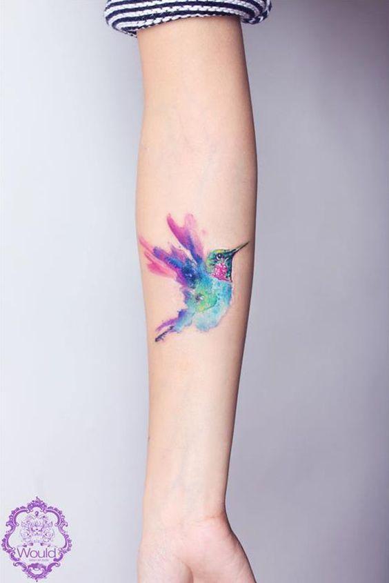Wasserfarben Vogel Tattoo