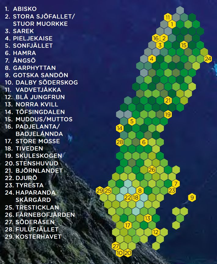 There are 29 national parks in Sweden. You will find more information about each national park in the alphabetical list.