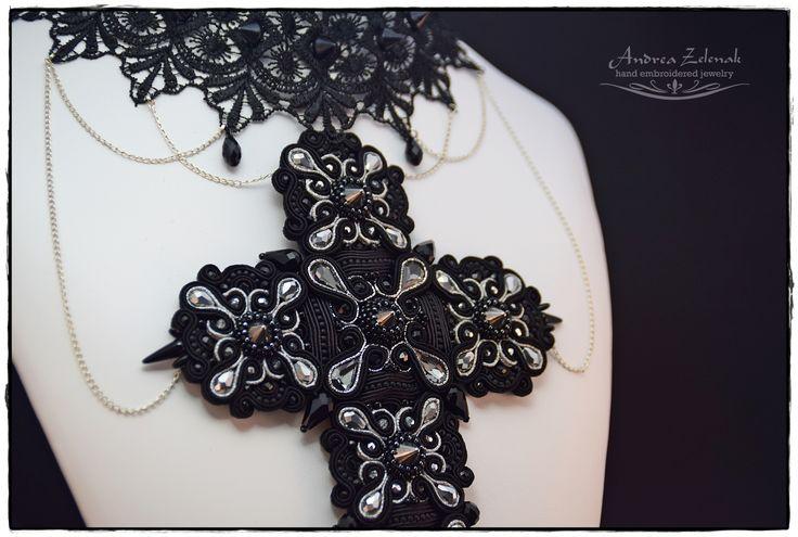 """""""Gothic Cross"""" - soutache necklace"""