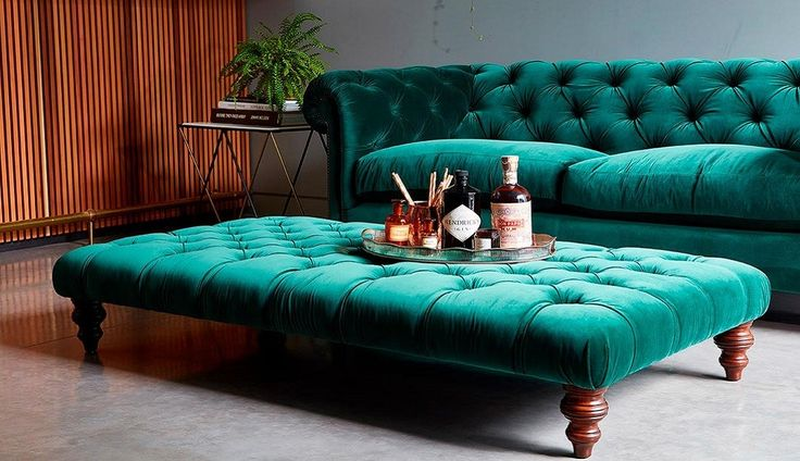Stirling Footstool Oscar Velvet Teal Green £588.00