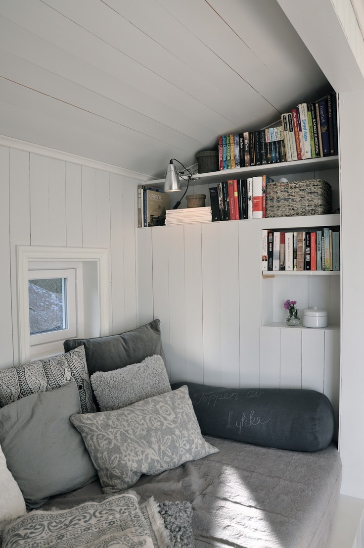 grey + white daybed nook
