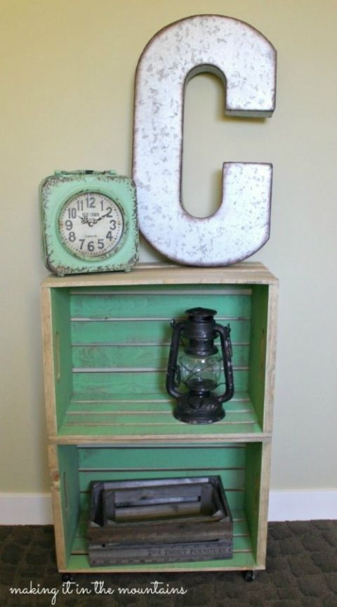 1000 ideas about crate nightstand on pinterest for Wooden crate bedside table