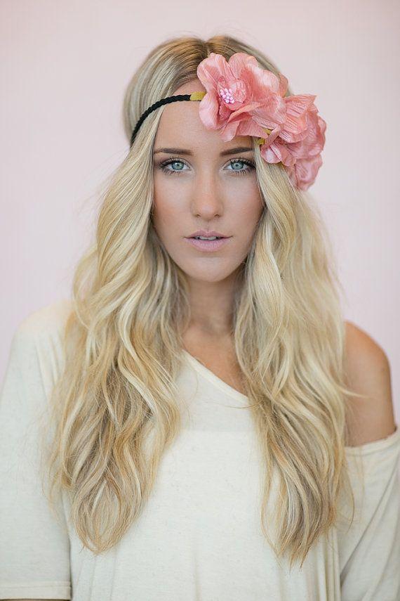 Coachella Flower Crown, Bohemian Headband, Cute Hair Bands, Women's Silk Flower, Side of Flowers Headband in Dusty Rose (HB-118)