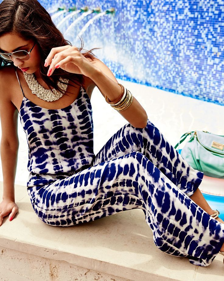 Haute Hippie Tie-Dye Stripe Jumpsuit Summer Pool Casual Party Look