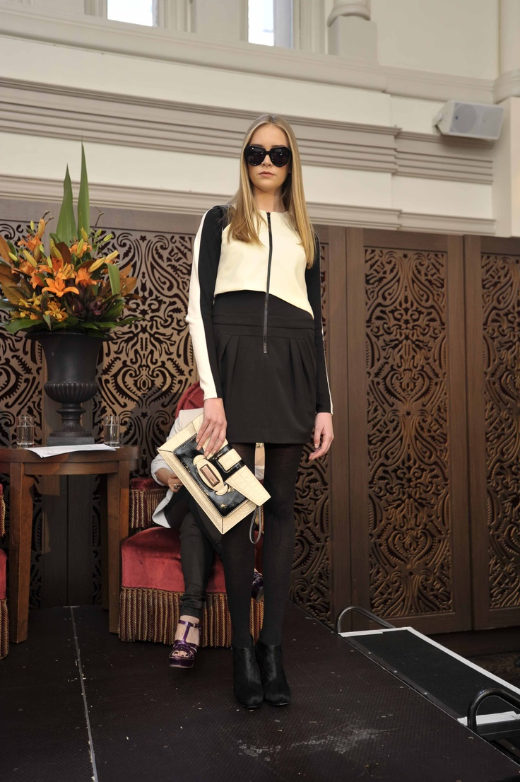 Trend: Black and White  Model wears #CUE dress, #Mimco clutch, #Metalicus wool tights, Country Road Jane Bootie and Karen Walker at Lifestyle Optical 'Number One' sunglasses.  #qvb #karenwalker #countryroad #monochrome #fashion