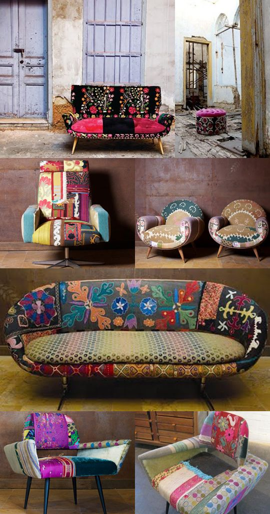 ethnic folk country: suzani and ethnic covered vintage sofas