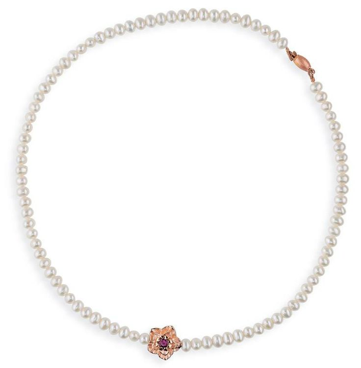 Drachenfels Design, Freshwater Pearl Necklace with Rose Gold Silver Flower and Rhodolite Stone, €319