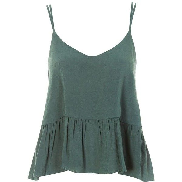 TopShop Relaxed Peplum Camisole Top (110 ILS) ❤ liked on Polyvore featuring tops, green camisole, green cami top, peplum tops, viscose tops and cami top
