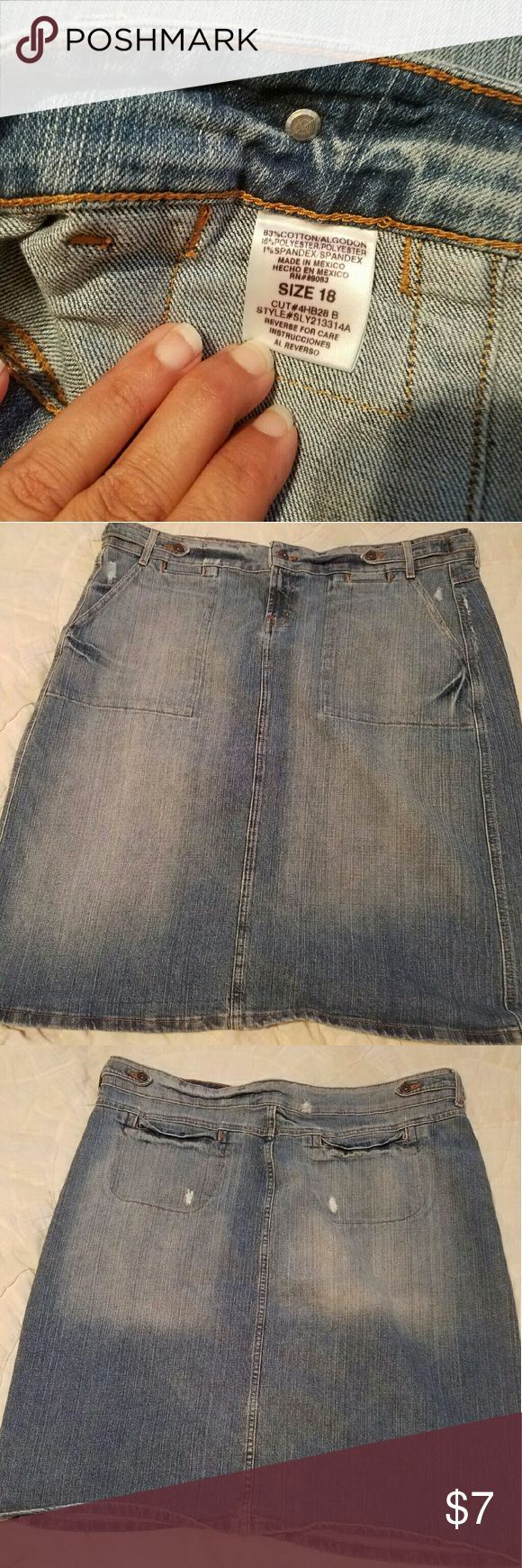 Womens Plus LEI distressed jean skirt- 18 Super cute and easy to wear womens plus size jean skirt by LEI. It has a distressed look to it. Falls just below the knees. There are 4 pockets. 2 back pockets and 2 side slit bigger pockets in the front. lei Skirts Pencil