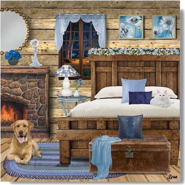 Cozy Little Rustic Bedroom by oregonelegance on Polyvore featuring art, bedroom and rustic