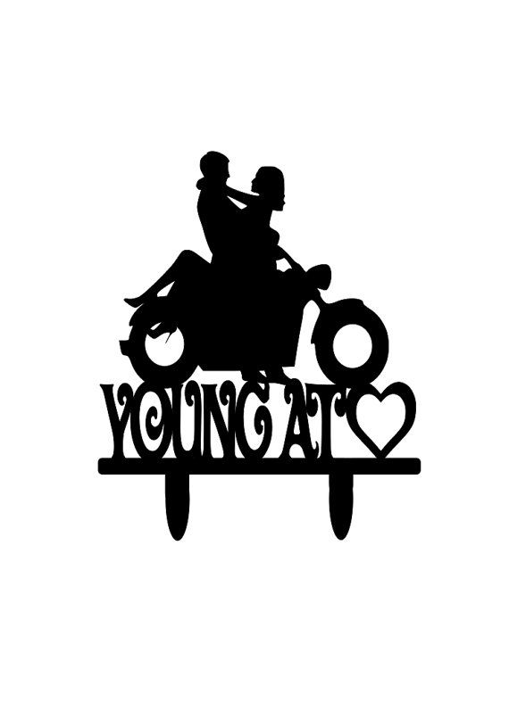 Young At Heart Motorcycle Couple Wedding Cake by 1TheCherryOnTop