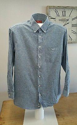 RM Williams Blue / Grey Check Long Sleeved Shirt Size Large Regular Fit Longhorn