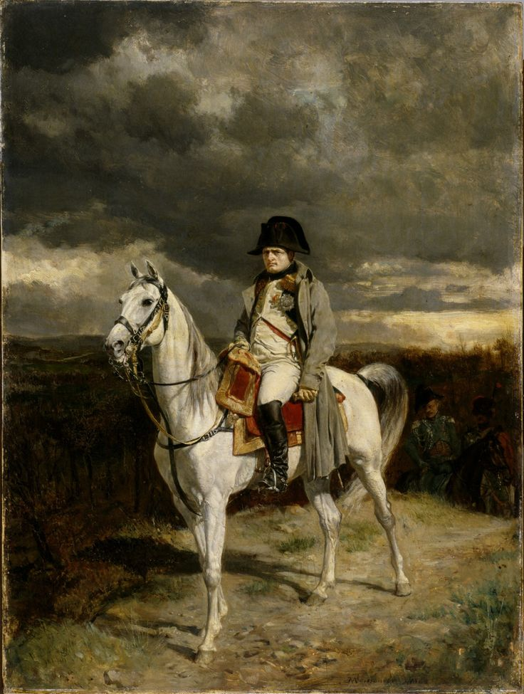 "artmastered:  "" Jean-Louis-Ernest Meissonier, Napoleon 1814, 1862, oil on panel, 32.4 x 24.2 cm, Walters Art Museum, Baltimore. Source  This equestrian portrait of Napoleon Bonaparte was commissioned by the subject's nephew, Napoleon III, 40 years..."