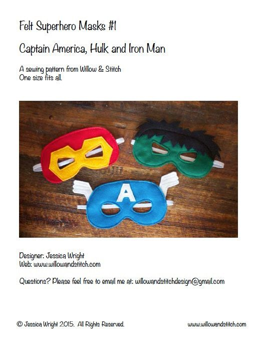 Make your own felt superhero masks with this PDF PATTERN. Includes patterns for Captain America, Hulk and Iron Man. BONUS: Also includes printable masks which your kids can colour in themselves and then wear. Please note this listing is for the PDF PATTERN only. Pattern Includes: -