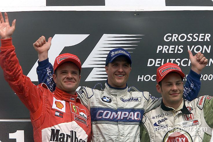 Ralf Schumacher 2001 | Podium with Rubens Barrichello, and Jacques Villeneuve. This was Ralf's third win of the season.