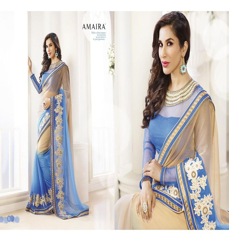 Saree :: Ink Blue and Cream Color Saree with Ink Blue color Blouse.