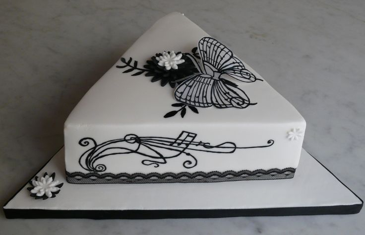 Music themed hand painted cake with butterfly.