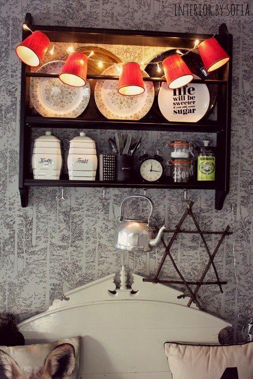 kitchen. vintage lampshades