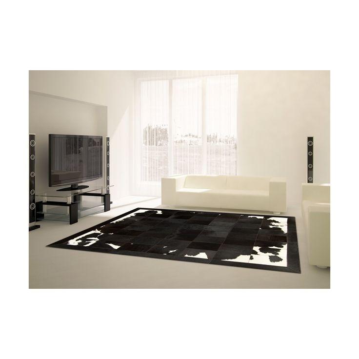 Patchwork cowhide rug  k-1700 black-brown-white