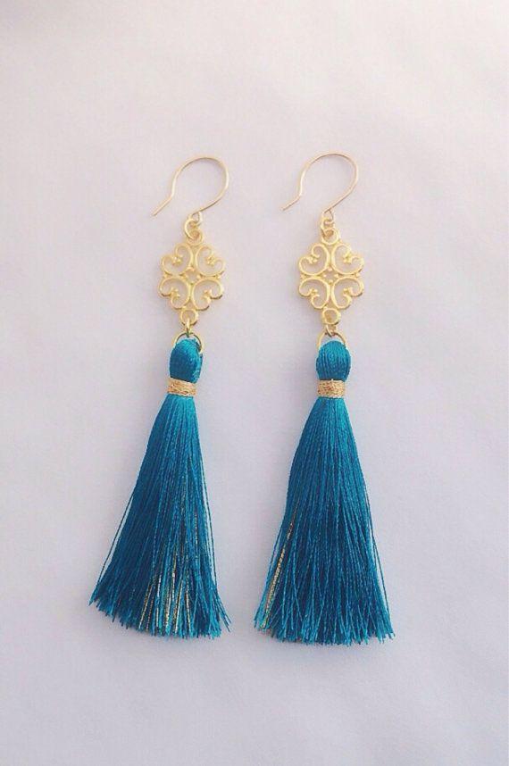 Tassel earrings long teal tassels and gold by SophieKateCouture