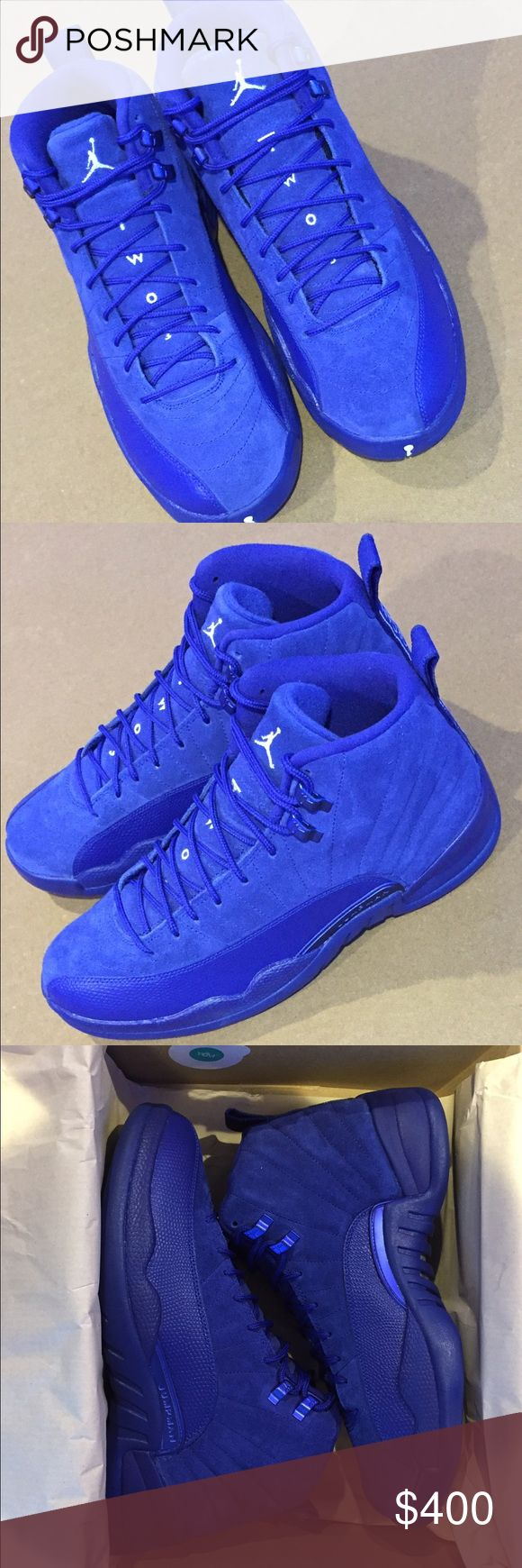 Jordan 12 Royal Blue I'm selling a pair of the hottest colorway of 2016. Men's Jordan 12 Royal Blue Suede size 9.5 BRAND NEW in its original box with receipt. Jordan Shoes Sneakers