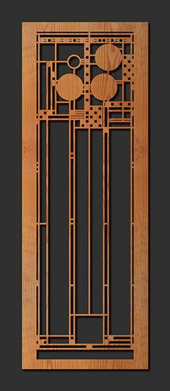 Decorative Frank Lloyd Wright Designed Laser Cut Wood Element