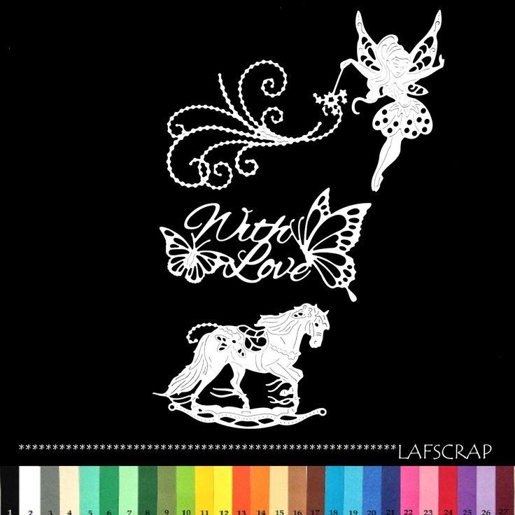 lot découpes fée baguette magique fil de perles papillon love amour princesse naissance bébé scrapbooking embellissement : Embellissements par lafscrap