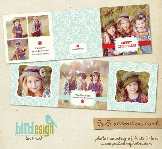 INSTANT DOWNLOAD 5x5 Accordion Photoshop card por birdesign