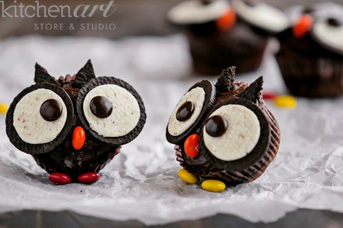 Oreo Owl Cupcakes for Halloween - Kitchen Art Store and Studio