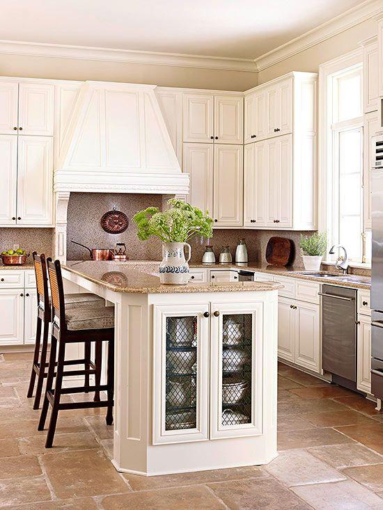 White kitchen design ideas traditional warm and colors for Traditional kitchen color schemes