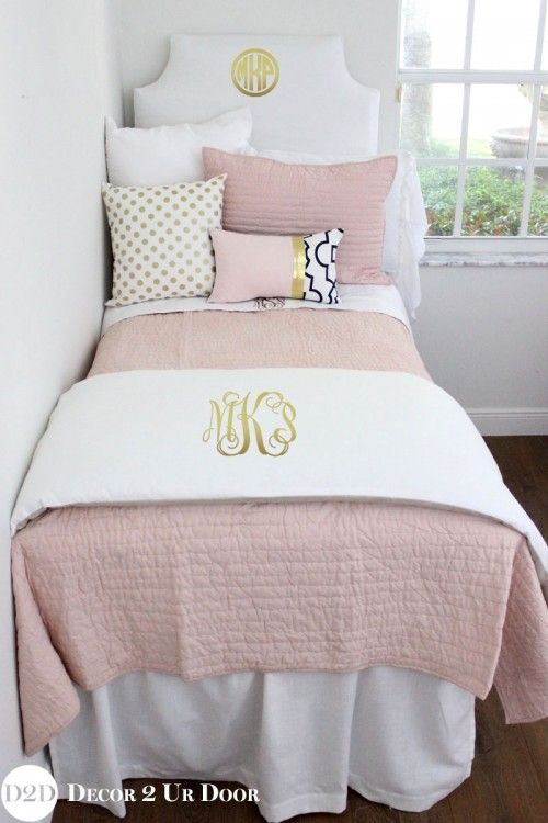 This Designer Dorm Bedding Features Crisp And Clean White, Mauve Toned  Blush, And Pops Part 51