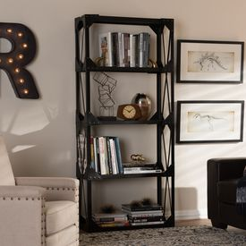 Baxton Studio Hudson Rustic Industrial Style Antique Black Textured Finished Metal Distressed Wood Tall Shelving Unit
