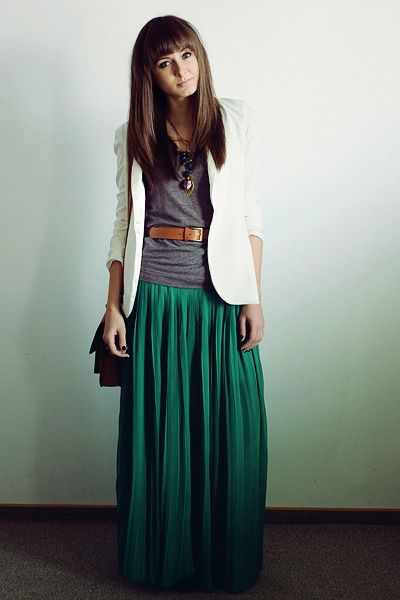 green maxi + white blazer.