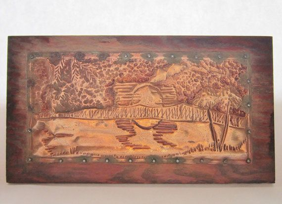 Copper Relief Etching TropicaL Scene Nailed to by DebsPickerSouL
